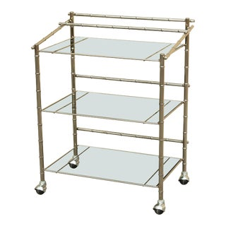 Mid-Century Chrome & Glass Bar Cart
