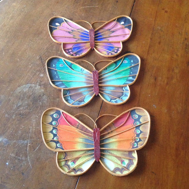 Vintage Rattan & Fabric Butterfly Wall Art - Set of 3 - Image 3 of 11