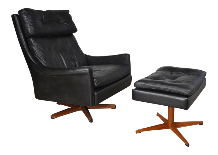 Ib Kofod Larsen Leather Swivel Lounge Chair And Ottoman   Image 1 Of 7