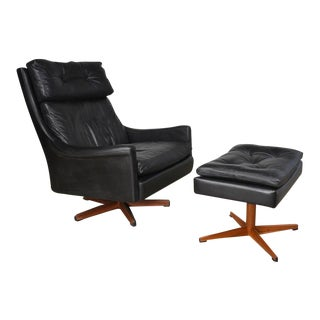 Ib Kofod-Larsen Leather Swivel Lounge Chair and Ottoman