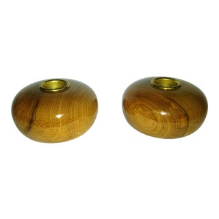 Mid-Century Wooden Ball Candle Holders - A Pair