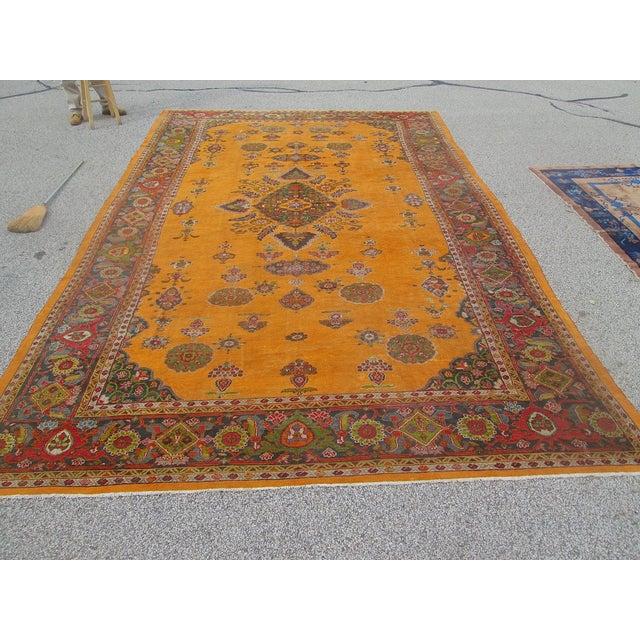 Antique Persian Orange/Green Oushak Style Rug
