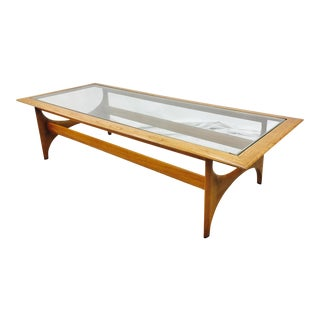 Lane Mid-Century Walnut & Glass Top Coffee Table