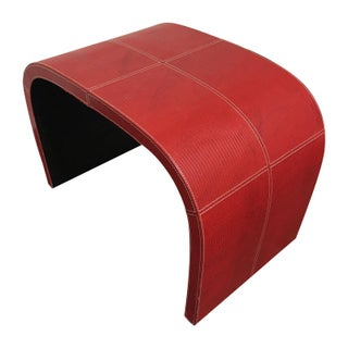 Red Faux Leather Curved Bench