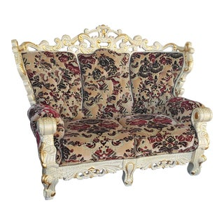 Vintage Victorian Velvet Settee - Detailed Carved Wood Frame Floral Velvet Loveseat / Large Chair