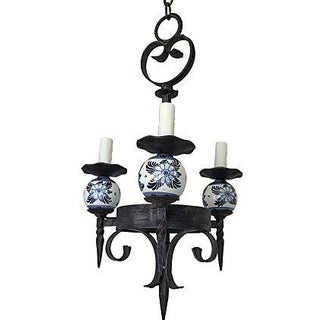 French 1930s Porcelain & Iron Chandelier
