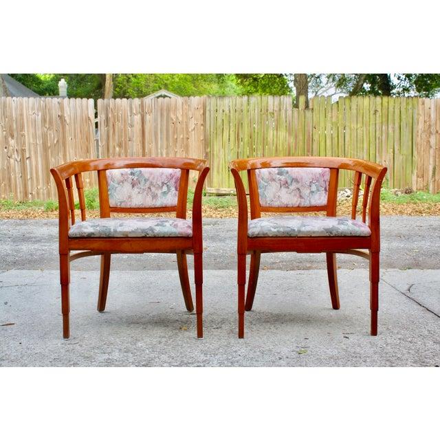 Image of Mid Century Modern Italian Barrel Club Chairs - A Pair