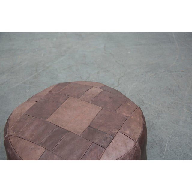 Brown Leather De Sede Style Patchwork Ottoman - Image 6 of 7