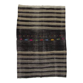 Handwoven Vintage Black & Grey Striped Kilim Rug
