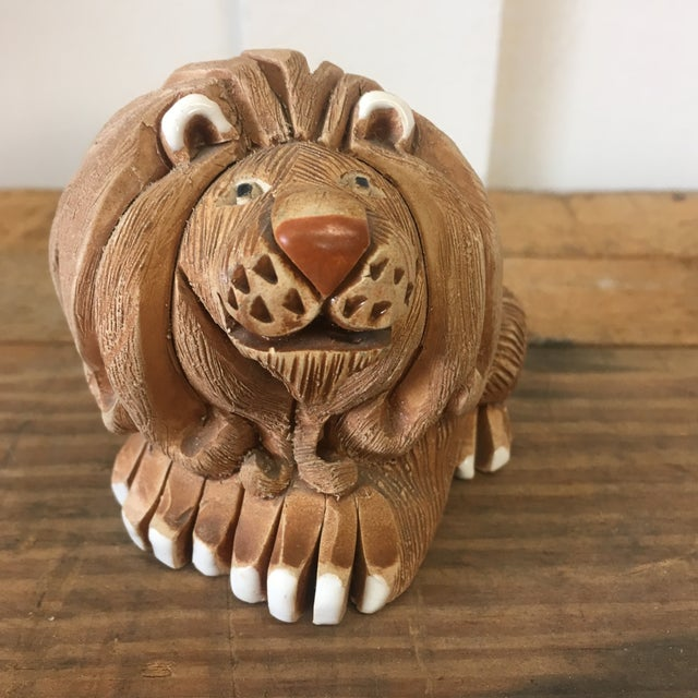Mid-Century Clay Lion Sculpture - Image 6 of 10