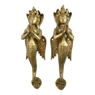Brass Naga Double Door Handles - A Pair