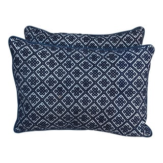 Navy & White Hand Woven Pillows - A Pair