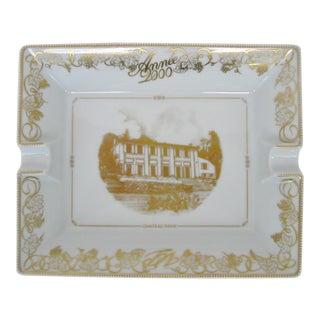 Bernardaud Limoges White and Gold Ashtray