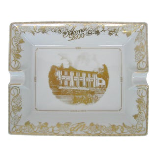 Bernardaud Limoges White and Gold Ashtray
