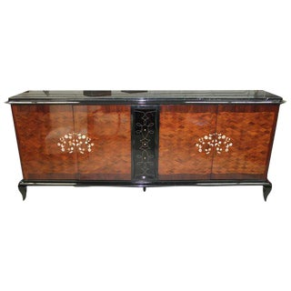 Jules Leleu French Art Deco Mother-of-Pearl & Marble Sideboard Circa 1940s.