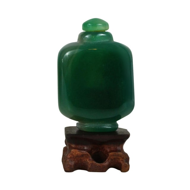 Image of Spinach Green Jade Carved Snuff Bottle & Stand