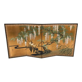 Mid-Century Hand Painted Japanese Wall Screen
