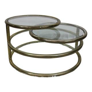 Mid Century Modern Milo Baughman style coffee table brass