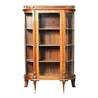 Antique Oak Curved Display Curio China Cabinet