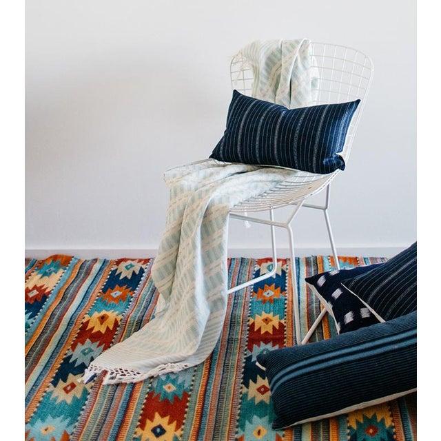 Vintage Striped Ikat Indigo Pillow - Image 8 of 8
