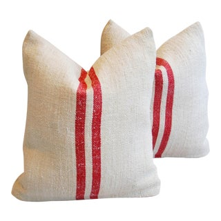 European Homespun Red Striped Textile Pillows - Pair