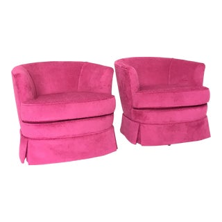 Pink Mod Barrel Back Swivel Chairs - Pair