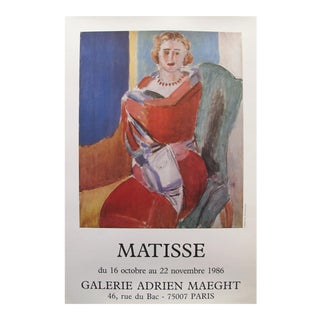 1986 Vintage Matisse Exhibition Poster, Sitting Woman