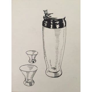 Mid Century Cocktail Shaker Pen & Ink Drawing