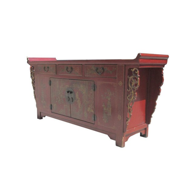 Chinese Vintage Red & Gold Altar Buffet Table - Image 3 of 6
