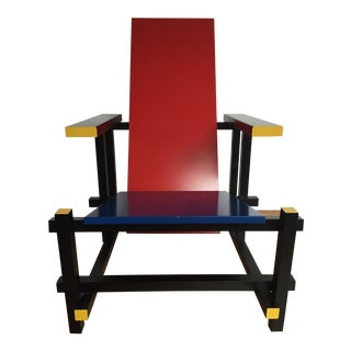 Gerrit Rietveld Lacquered Red & Blue Wood Chair
