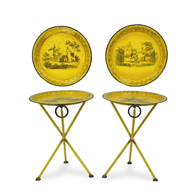Pair of Vintage Italian Neoclassical Tole Metal Folding Side Tables Yellow Courting - Image 2 of 11