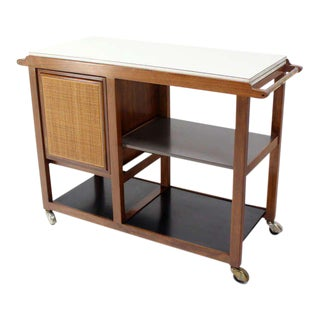 Mid-Century Modern Flip-Top Walnut Serving Cart