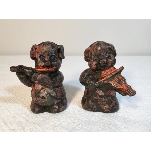 Antique Lead Pig Musician Toys - A Pair - Image 4 of 5