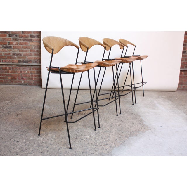 Set of Four Rush and Iron Stools by Arthur Umanoff for Raymor - Image 2 of 11