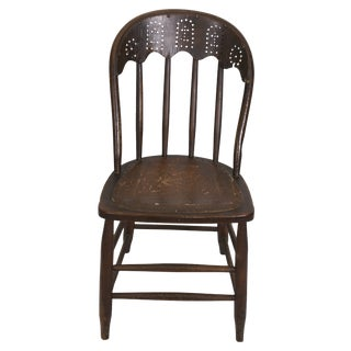 Windsor Chair Tooled Leather Seat Pierced Bib