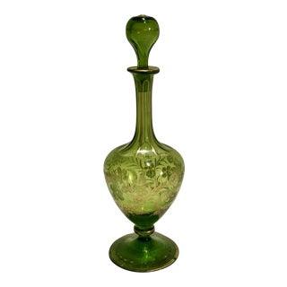 Antique Czech-Bohemian Glass Liqueur Decanter With Gold Enamel Paint and Glass Stopper