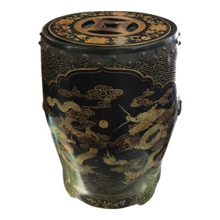 Chinese Chinoiserie Dragon Drum Table