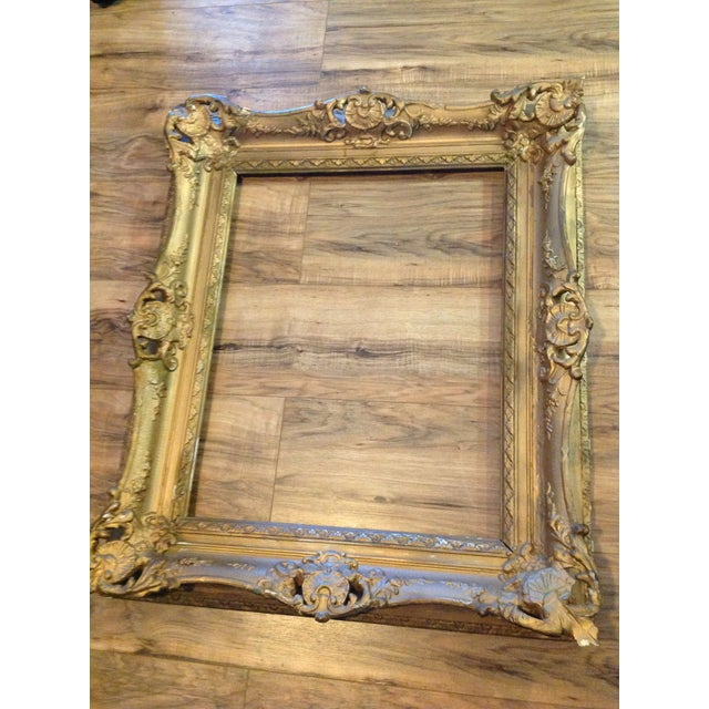 Antique Wood Hollywood Regency Large Frame Victorian White Shabby Chic - Image 2 of 11
