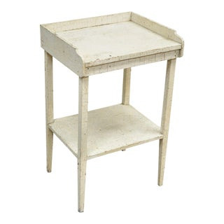 Antique White Distress Painted Pine Side Table