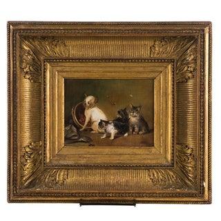 19th C. Oil Painting of a Puppy Dog and Kitty