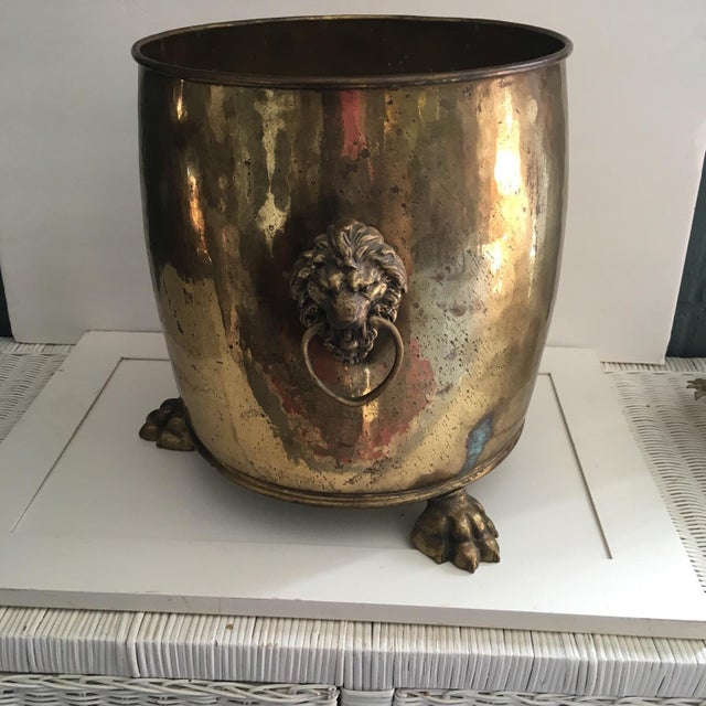 Image of Brass Footed Planter With Lion Head Handles