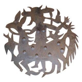Haitian Steel Cutwork Folk Figure Wall Art