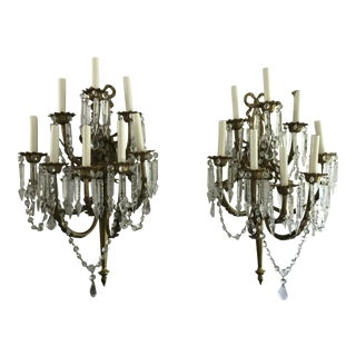 A Pair of Antique French Crystal Bronze 18 Light Sconce Pair
