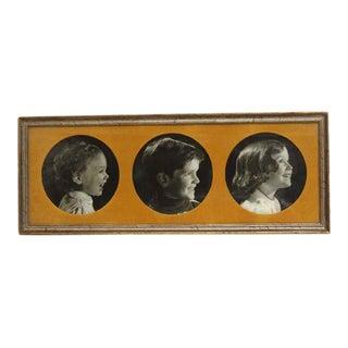 Vintage Framed Trio of Children's Portraits
