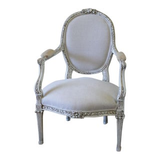 19th Century Carved and Painted French Chair in Antique Linen
