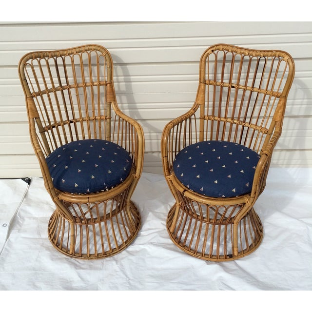 Boho Chic Rattan Chairs - A Pair - Image 6 of 9
