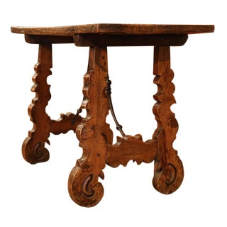 Mid-18th Century Spanish Walnut Table with Iron Stretcher & Single Plank Top