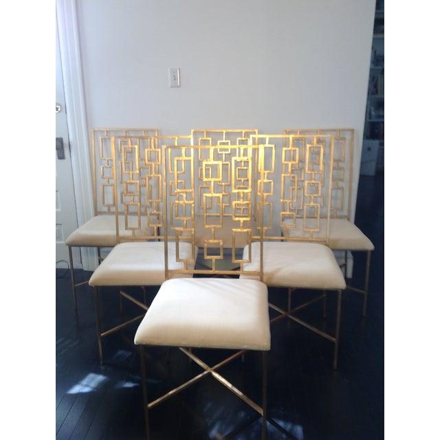 Worlds Away David Gold Iron Chairs - Set of 6 - Image 9 of 11