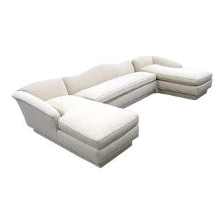 Modern Ivory Cotton Sectional Couch Sofa Loveseat Settee Chaise Lounge - 3 Pc.