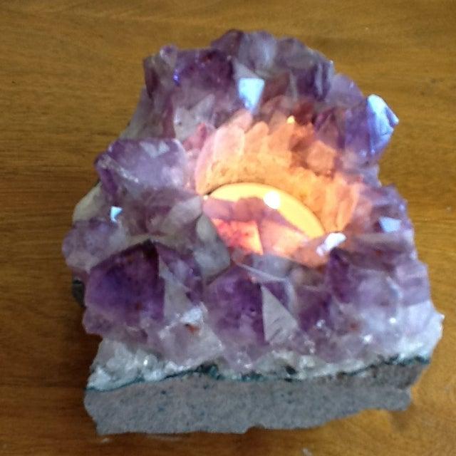 Raw Amethyst Rock Crystal Votive - Image 5 of 11